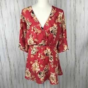 Torrid NWT Orange Floral Babydoll Blouse 2X